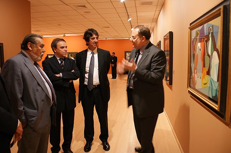 Raúl Vargas, director de Radio Programas del Perú, Francisco Serrano, director general de la Fundación Telefónica España, Javier Manzanares, presidente del Grupo Telefónica en el Perú y de su Fundación, Eugenio Carmona, curador de la muestra
