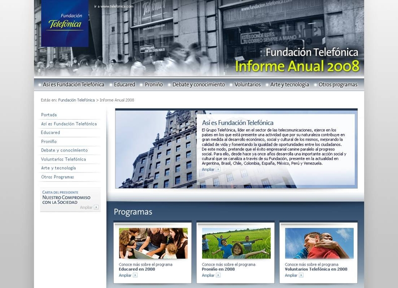 Portada de la version on line del Informe Anual 2008