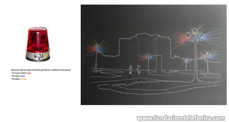 """Boceto de """"Orden Público"""" del artista cubano-mexicano James Bonaechea, que a partir de la simple manipulación de objetos existentes en el Parque de la Democracia afecta de manera simbólica y estética el contexto"""