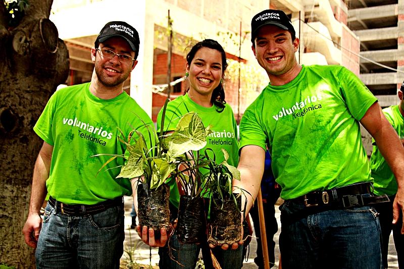Voluntarios Telefónica de Venezuela sembraron más de tres mil plantas ornamentales