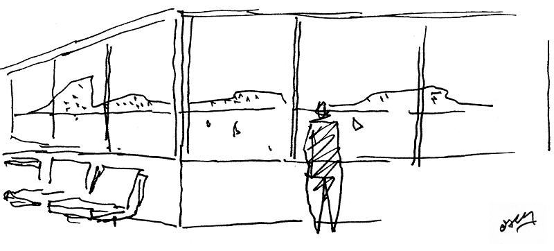 Desenho de Oscar Niemeyer. Vista de seu escritório – Copacabana – Rio de Janeiro – RJ - Brasil. in: Projeto Raízes do Memorial Niemeyer 90 Anos. Instituto Lina Bo e P.M. Bardi / Fundação Memorial da América Latina / Fundação Oscar Niemeyer.
