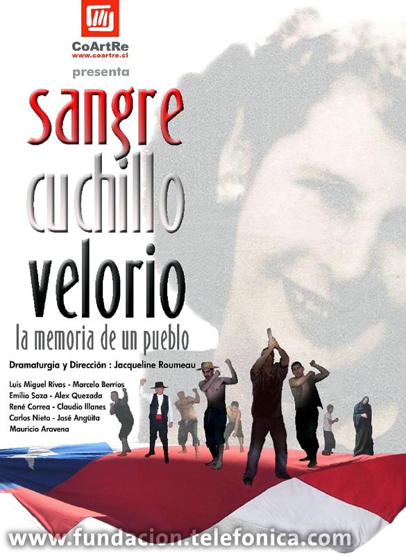 """En la obra """"Sangre, Cuchillo y Velorio"""", creada y dirigida por Jacqueline Roumeau, un grupo de internos reviven – desde su propia mirada – el proceso histórico que ha vivido Chile entre 1973 y 1989."""