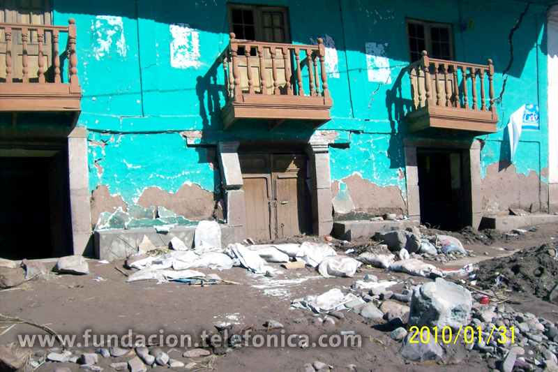 Casas destruidas por las fuertes lluvias.