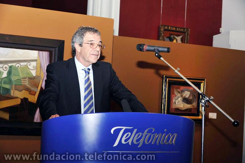 César Alierta, durante su intervención en la inauguración de la exposición sobre el cubismo en Bruselas.