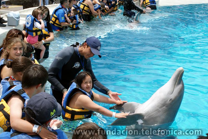 Los Voluntarios asistieron a niños con capacidades diferentes para convivir con delfines.