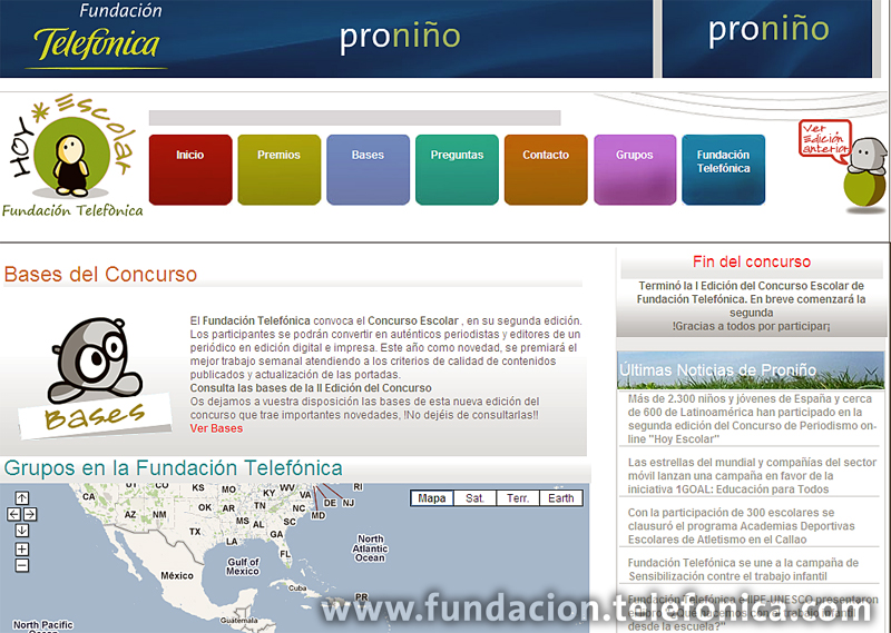 """Los ganadores del concurso de periodismo on-line """"Hoy Escolar"""" promovido por Fundación Telefónica y Vocento, visitan España."""
