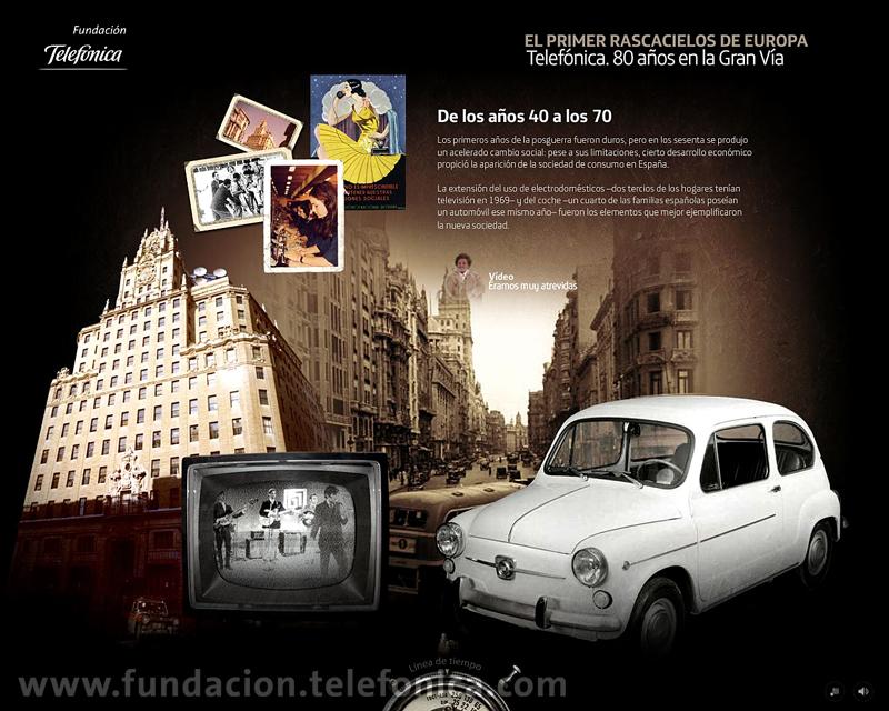 """Fundación Telefónica presenta en Internet el espacio dedicado al edificio de la Gran Vía madrileña (http://granvia.fundacion.telefonica.com). Sección """"De los años 40 a los 70""""."""