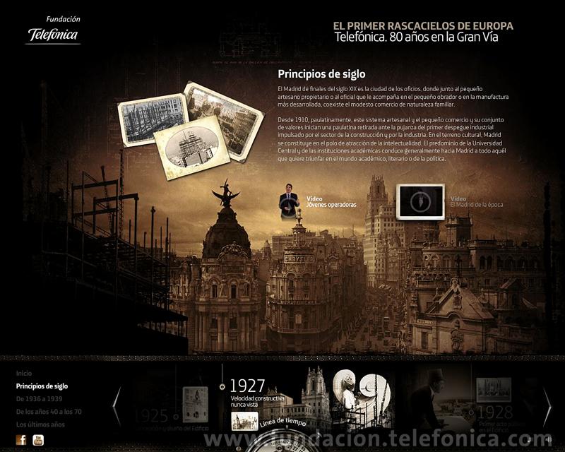 """Fundación Telefónica presenta en Internet el espacio dedicado al edificio de la Gran Vía madrileña (http://granvia.fundacion.telefonica.com). Sección """"Principios de siglo""""."""