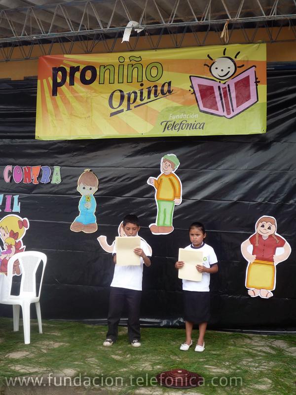 Fundación Telefónica, a través de su programa Proniño, un año más, confirma su compromiso de contribuir con la erradicación del trabajo infantil, escolarizando a más de 23,000 niños de 11 departamentos del país y brindando una atención directa a 197 escuelas públicas de educación primaria y 89 institutos de educación secundaria.