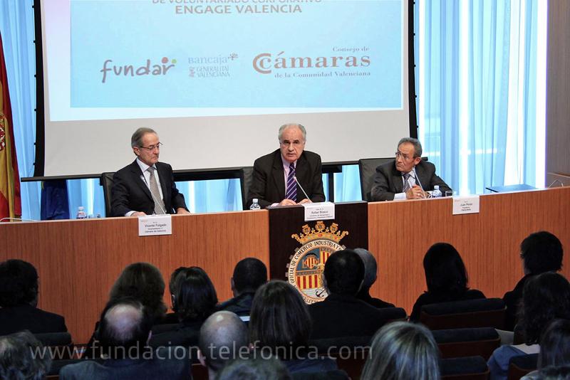 El presidente de Fundar, junto a el vicepresidente de la Cámara de Comercio de Valencia, y el Presidente del Grupo Pikolinos presidieron el lanzamiento de la tercera edición del programa ENGAGE Valencia.