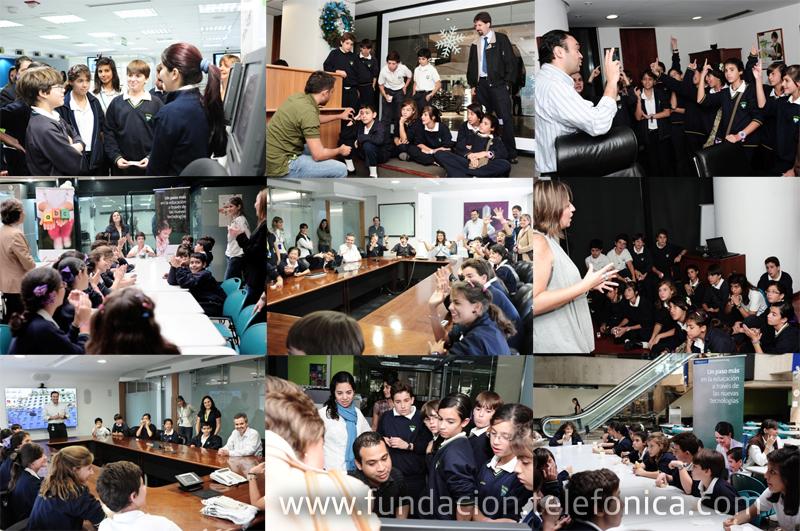Los estudiantes del Colegio Claret de Caracas finalistas del Certamen Internacional EducaRed visitaron la sede de Telefónica.