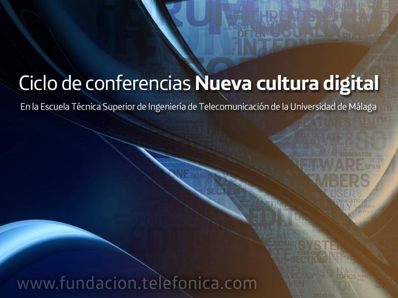 Conferencia conjunta de  Juan Freire, Roberto Carreras y Dolors Reig en la Escuela Técnica Superior de Ingeniería de Telecomunicación de la Universidad de Málaga a en el marco del ciclo Nueva cultura digital.