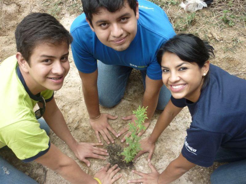 195 niños de Proniño y 10 voluntarios Telefónica Guatemala, siembran 400 árboles ciprés en la Aldea Monte de los Olivos en Chimaltenango