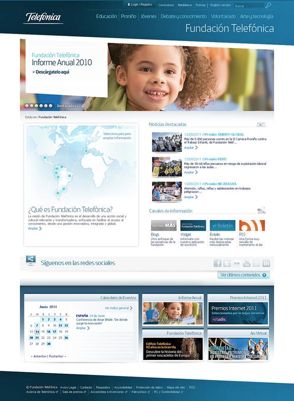 Página principal de la web de Fundación Telefónica en España.