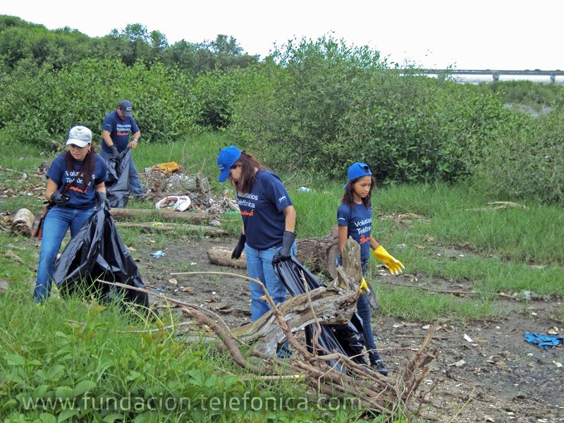 Los Voluntarios Telefónica limpiaron la playa de Panamá la vieja.