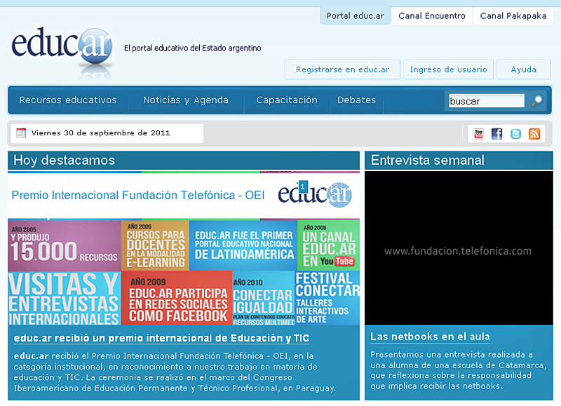 El portal educ.ar ha sido galardonado con el premio FT-OEI
