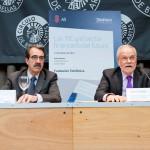 Emilio Ontiveros, coordinador del libro y presidente de Analistas Financieros Internacionales (Afi) y Javier Nadal, vicepresidente ejecutivo de Fundación Telefónica, durante la presentación del informe