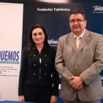 Catalina Chávez, Experta de Responsabilidad Corporativa de Telefónica en Nicaragua junto a Ernesto Medina, Presidente de Eduquemos.