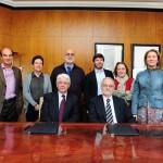 Los equipos de Fundación Entreculturas y Fundación Telefónica tras la firma del convenio.
