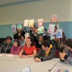 Llos niños y niñas de sanatorio Marítimo, centro de educación especial de Gijón, durante la videoconferencia