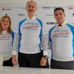 De izquierda a derecha, Giovanna Bruni, directora de Fundación Telefónica México; Francisco Gil Díaz, presidente   ejecutivo de Telefónica México; Alejandro Bosque Blank, director para la cuenta de Telefónica en Huawei Technologies en México.