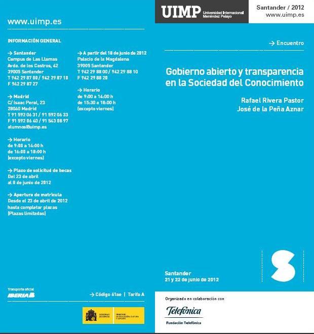 """Jornadas """"Gobierno abierto y transparencia en la sociedad del conocimiento"""""""