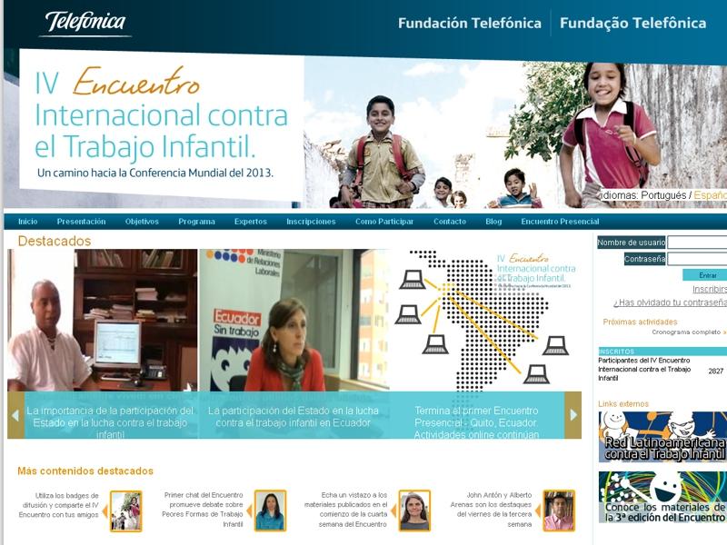 Pagina de inicio del sitio web del encuentro