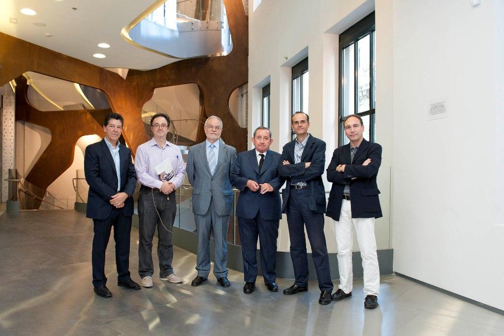De izquierda a derecha, Alfonso Gutiérrez, Fernando Vidal Fernández, Javier Nadal, José María Martín Patino, Agustín Blanco y Manuel Area.