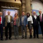 En el evento celebrado en Ciudad de México tomaron parte destacados especialistas en el ámbito educativo. En la imagen Alberto J. Cañas (segundo por la izquierda) y Roger Schank (cuarto por la izquierda), junto a Javier Nadal, vicepresidente ejecutivo de Fundación Telefónica (segundo por la derecha), así como diferentes representantes de Fundación Telefónica y participantes en el Encuentro.