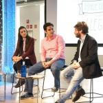 David de San Benito, responsable de Think Big Jóvenes España, junto a dos de los participantes en la primera edición de Think Big, Sara Giménez, creadora del proyecto Prometteo y Francisco Murillo, que participó con High Fidelity.