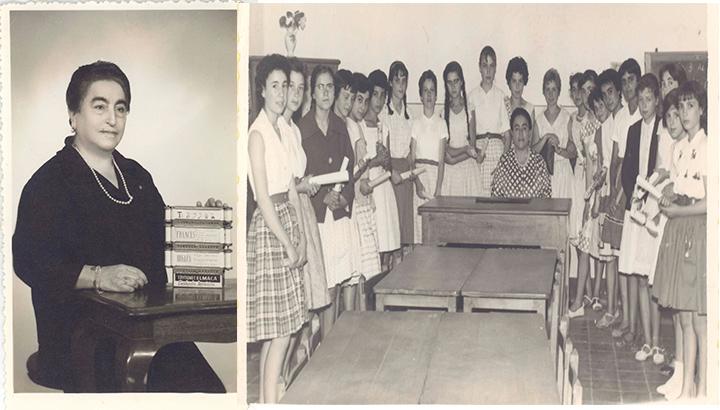 Dña. Ángela Ruiz Robles, con su Enciclopedia Mecánica y sus alumnas (archivo de sus herederos)