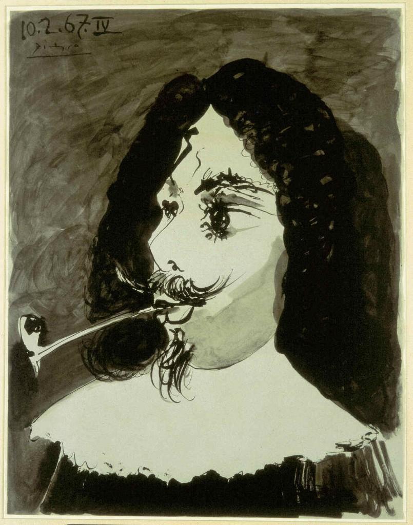 'Tête de mousquetaire a la pipe', de Pablo Picasso