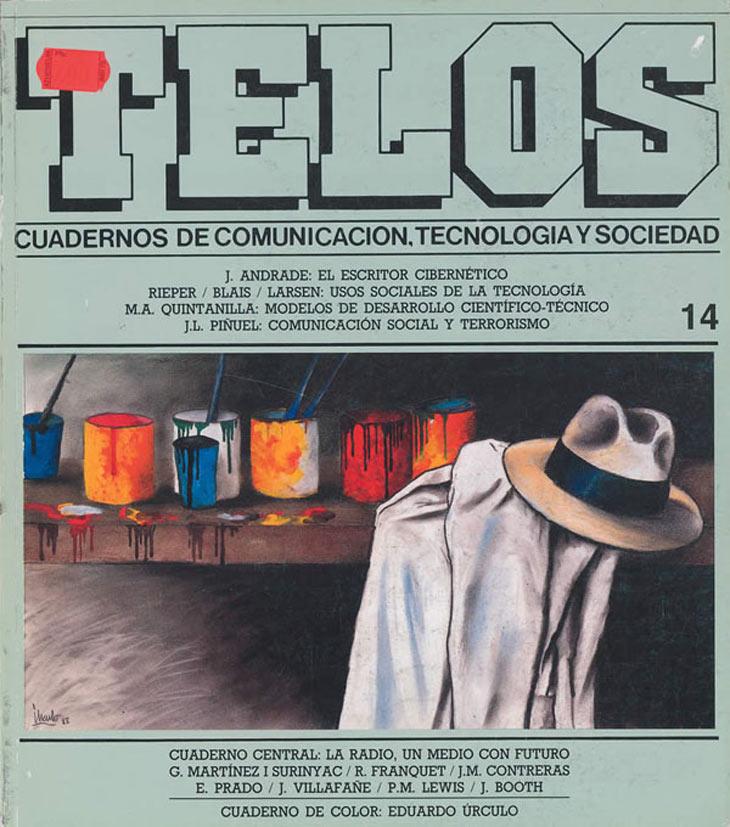 """El número 14 de Telos se presenta con algunos de los iconos del artista Eduardo Úrculo en su portada: la gabardina, el sombrero y los colores más representativos de su obra. La radio es el tema del Cuaderno Central, un medio de comunicación que en los años 80 experimentó un boom cuantitativo con la creación de emisoras locales y de """"radios libres"""", a la par que las grandes cadenas se fusionaban mediante procesos de concentración."""