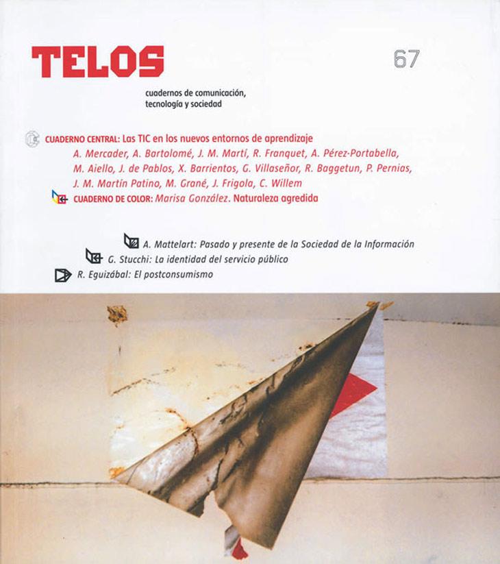 El número 4 de Telos trató el tema de 'Educación e informática' en su Cuaderno Central, un tema que se recupera en el 67 y que se retomará en el número 78. El seguimiento dado a la evolución de la innovación educativa con TIC muestra el compromiso que Fundación Telefónica tiene con la mejora de la educación. Además, el Cuaderno de Color de este número reproduce las fotografías de Marisa González realizadas durante el desmantelamiento de la central nuclear de Lemóniz el año 2002.