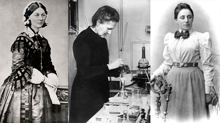 De izda. a dcha., Florence Nightingale, Madame Curie y Emmie Noether.