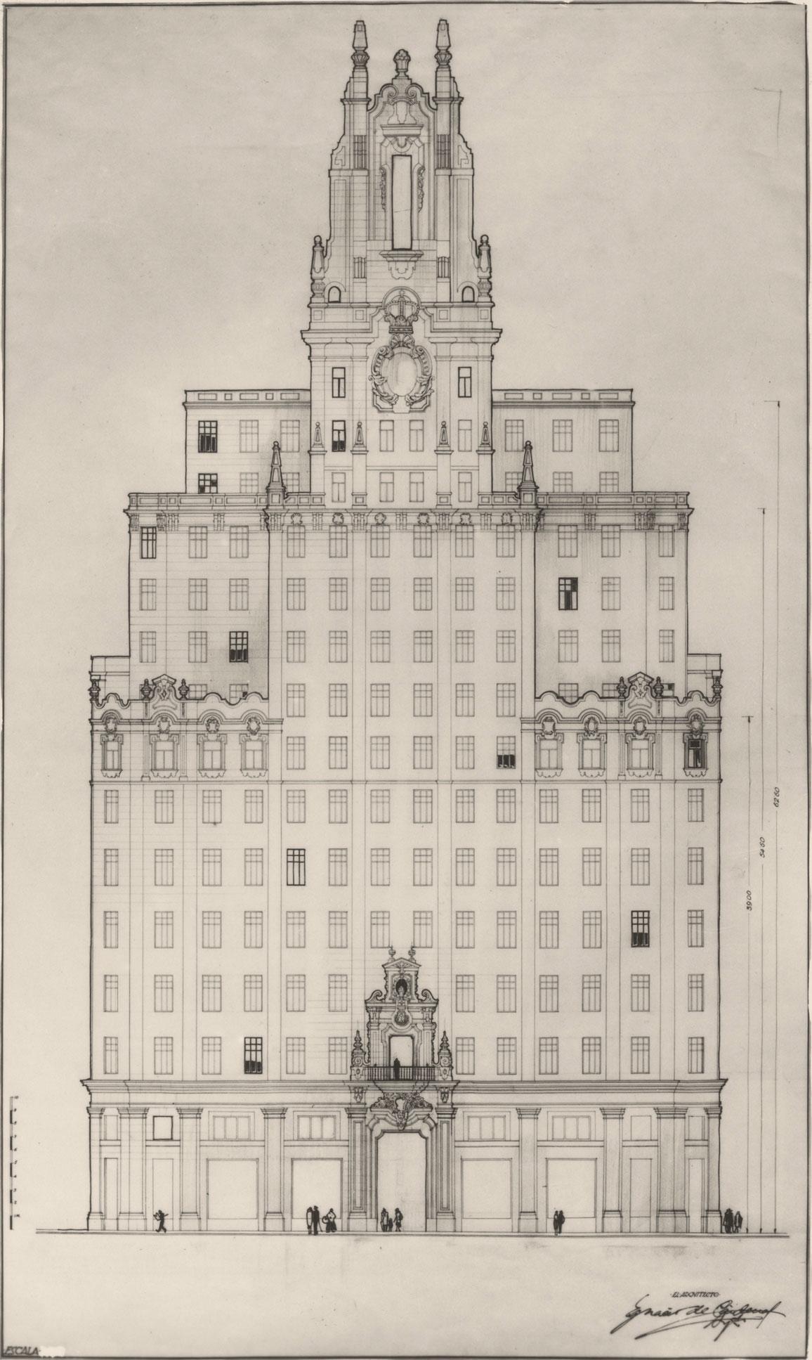 Ignacio de Cárdenas, s/d. Alzado fachada principal del nuevo edificio de Gran Vía.