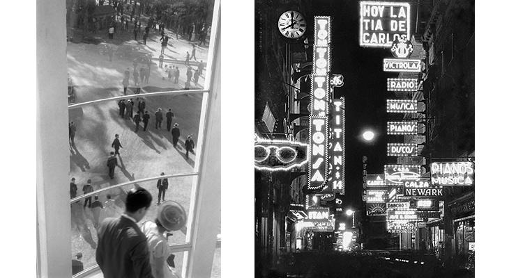 Hipódromo, La Plata, 1938 (izda.) y Calle Florida a las 20 hs., 1936 ©Horacio Coppola