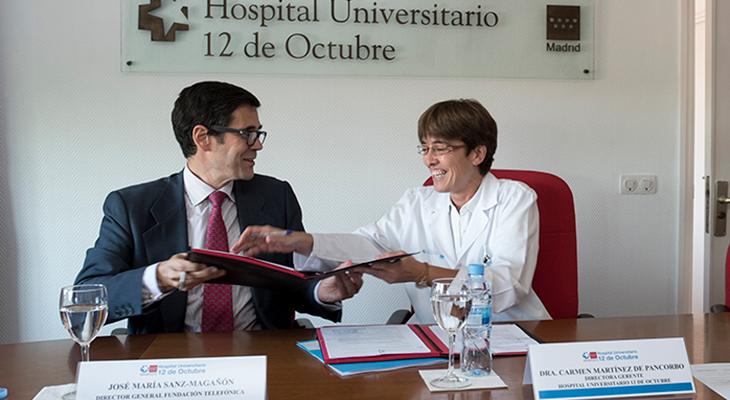 José Mª Sanz Magallón, director general de Fundación Telefónica; y la dra. Carmen Martínez de Pancorbo González, directora gerente Hospital Universitario 12 de Octubre.