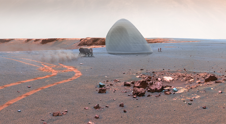 A transparent exterior ETFE membrane prevents the 3d printed ice shells from sublimating into the Martian atmosphere