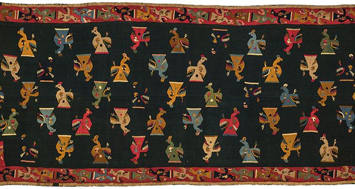 Paracas – Nasca (200 a.C.- 50 d.C.) Manto con diseño de cóndores que formó parte de las ofrendas de un fardo funerario Museo Nacional de Arqueología e Historia del Perú. Ministerio de Cultura del Perú